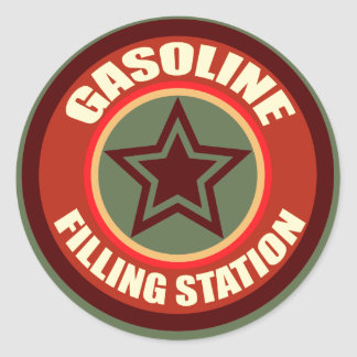 Oxygentees Gasoline Filling Station Round Sticker