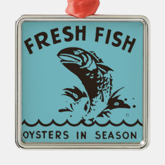 Oxygentees Oysters In Season Silver-Colored Square Decoration