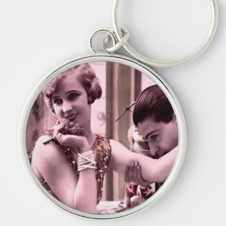 Oxygentees Vintage Romance Silver-Colored Round Key Ring