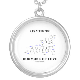 Oxytocin Hormone Of Love (Chemistry) Silver Plated Necklace