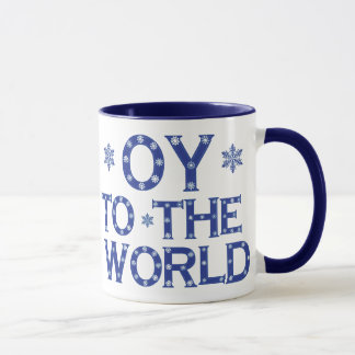OY to the world Blue and White Holiday Mug