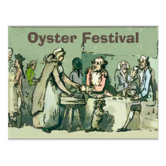 Oyster Fest, Vintage Girl with Oysters Postcard