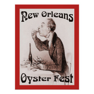 Oyster Festival, in Red. New Orleans, LA Poster