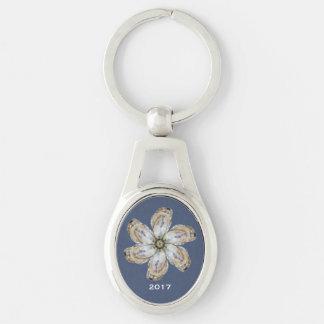 Oyster Flower Keychain - Design A Dark Blue