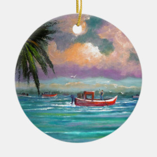 Oyster harvesting in Apalachicola Bay Ceramic Ornament