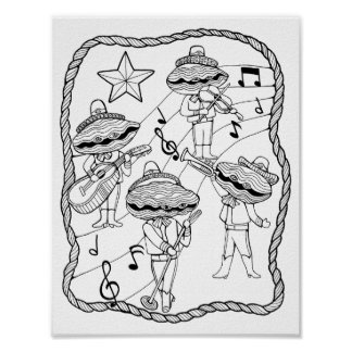 Oyster Mariachi Band Cardstock Adult Coloring Page Poster