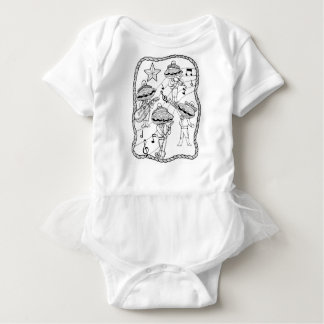Oyster Mariachi Band Line Art Design Baby Bodysuit