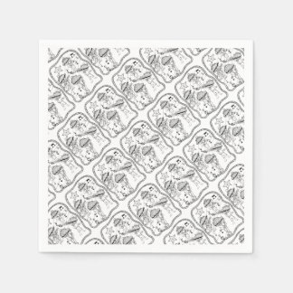 Oyster Mariachi Band Line Art Design Paper Napkin