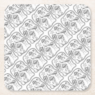 Oyster Mariachi Band Line Art Design Square Paper Coaster