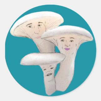 Oyster Mushroom People Cartoon Classic Round Sticker