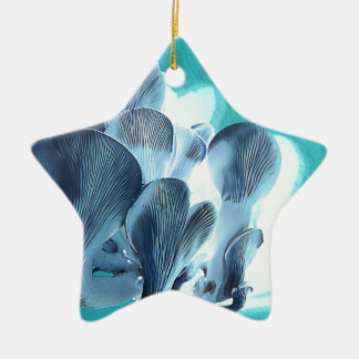 Oyster Mushrooms in Blue Ceramic Ornament
