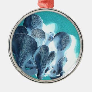 Oyster Mushrooms in Blue Metal Ornament