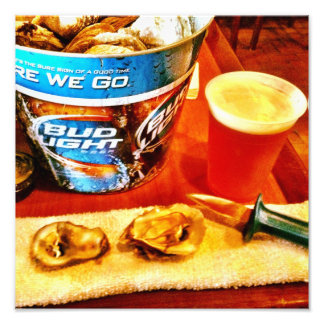 Oysters And Beer Art Photo
