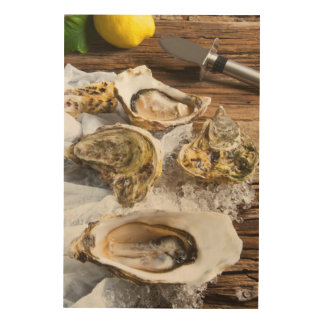 Oysters On Ice Wood Wall Decor