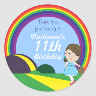 Oz BIRTHDAY custom Dorothy keepsake labels Round Sticker