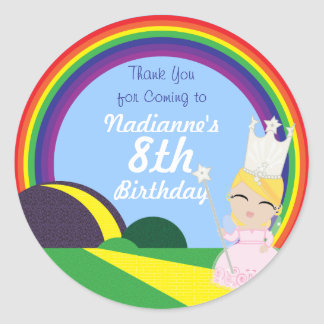 Oz BIRTHDAY custom Glinda keepsake labels Round Sticker