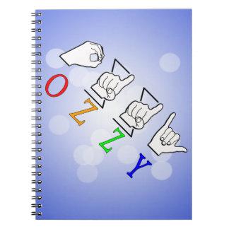 OZZY FINGERSPELLED ASL NAME SIGN NOTEBOOK