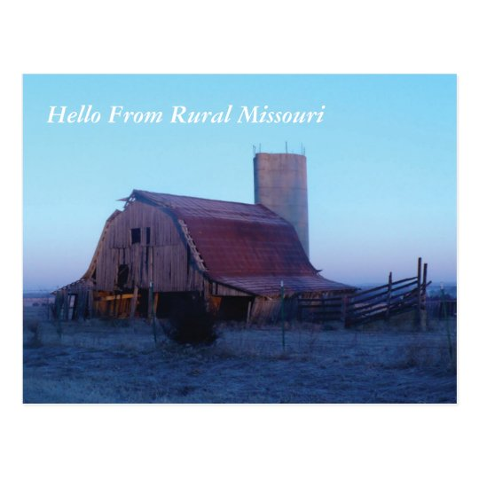 P1000451 Old barn, Hello From Rural Missouri Postcard