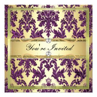 P1 Elegant Gold Purple Damask Invite Template