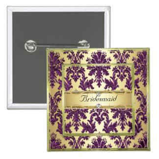 P1 Gold Purple Damask Bridesmaid Button Pin