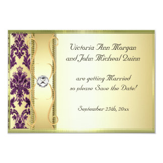 P1 Gold Purple Damask Save the Date Card 9 Cm X 13 Cm Invitation Card