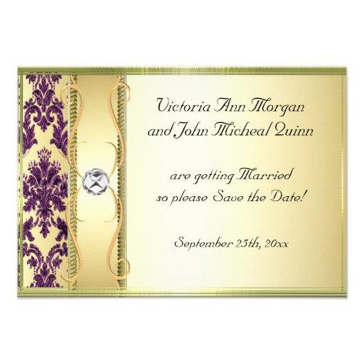 P1 Gold Purple Damask Save the Date Card Custom Invitation