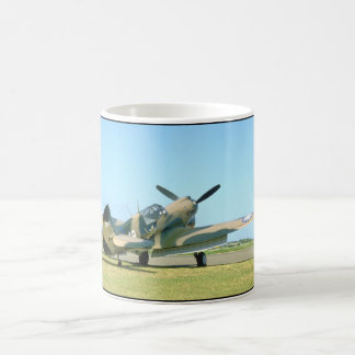 P40 Curtis, Camouflage, Rear View_WWII Planes Coffee Mug