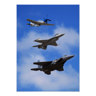 P51 F16 F15 in formation Poster