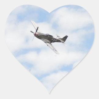 P51 Mustang In Flight Heart Sticker