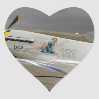 "P51 Mustang ""LuLu"" X Heart Sticker"