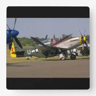 P51 Mustang, Side View.(runway)_WWII Planes Square Wall Clock