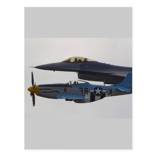 P-51 MUSTANG & F-16 EAGLE POST CARD