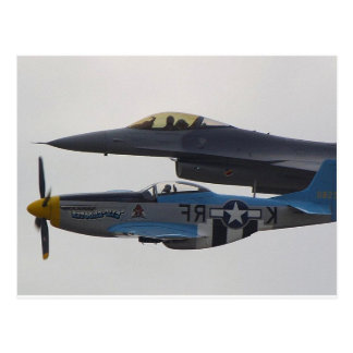P-51 MUSTANG & F-16 EAGLE POSTCARD