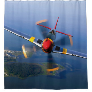 P-51 Mustang Fighter Airplane Shower Curtain