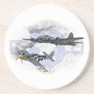 P-51 Mustang flying escort Beverage Coaster