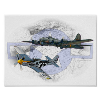 P-51 Mustang flying escort Poster