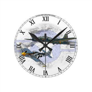 P-51 Mustang flying escort Round Clock