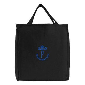 P-BAG-black x blue Embroidered Bag