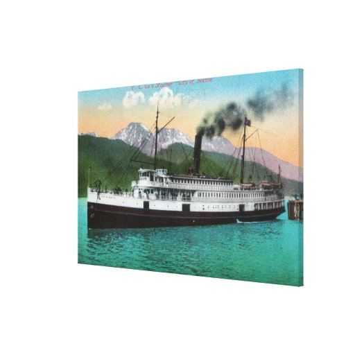 """P. C. Co's Steamer """"City of Seattle"""" Canvas Prints"""