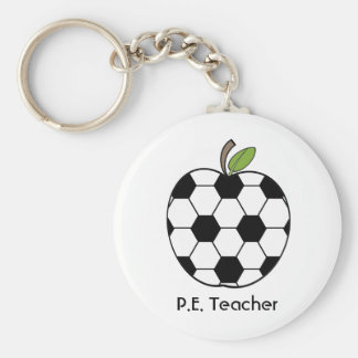 P.E. Teacher Keychain - Soccer Ball Apple