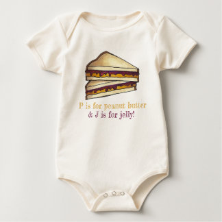 P for Peanut Butter J for Jelly PB&J Sandwich Food Baby Bodysuit