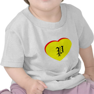 """""""P"""" Heart Yellow Red Wedding Invitation The MUSEUM T Shirts"""