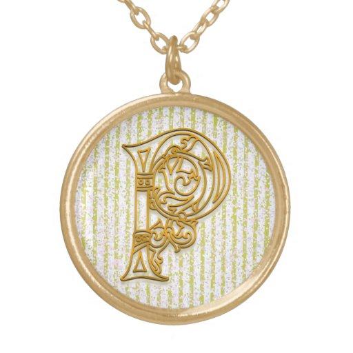 "P Initial Monogram ""Gold Pin Stripe"" Necklace Pendants"
