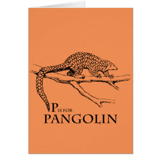 P is for Pangolin greeting card