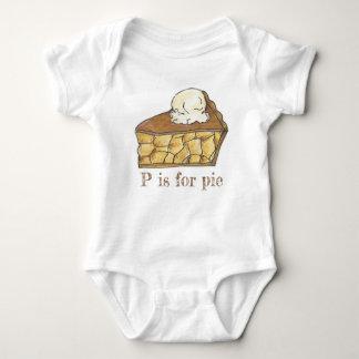 P is for Pie Apple Slice a la Mode Foodie Alphabet Baby Bodysuit