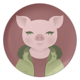 P is for Pig in a Parka & with Pearls Plates