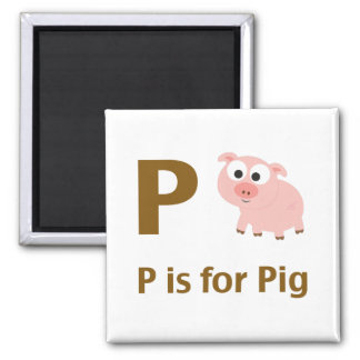 P is for Pig Fridge Magnets