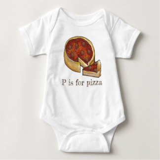 P is for Pizza Alphabet Pepperoni Deep Dish Pie Baby Bodysuit