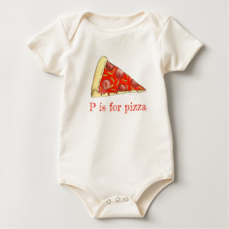 P is for Pizza Pepperoni Cheese Slice Foodie ABCs Baby Bodysuit