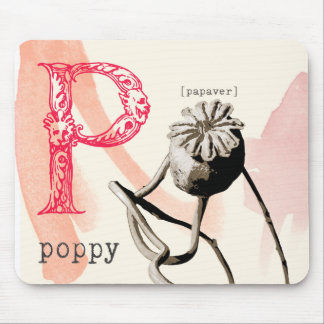 P is for poppy mousepad